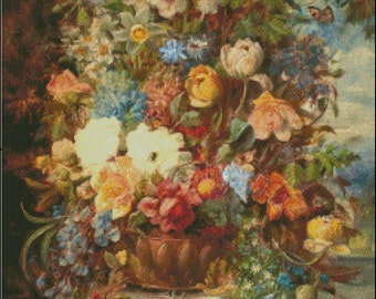 A FLOWERS On THE LEDGE  cross stitch pattern No.709