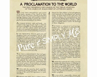 16 X 20  Family Proclamation JPEG  - LDS  Proclamation to the World - The Family