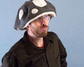 Fleece Mushroom Cap Floppy Hat Grey