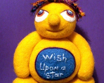 Needle Felted - Wish Upon A Star - Soft Sculpture - Wool Doll - Inspirational Phrase Quote Decor - Alien Creature Doll