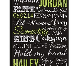 """Typography """"ELITE"""" Series Word Art Canvas art personalized, Maid Of Honor, Best friends, Words and phrases wall art 12X16"""