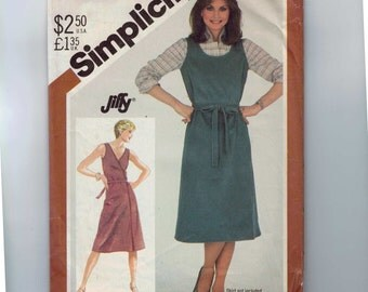 1980s Vintage Sewing Pattern Simplicity 5589 Misses Front or Back Wrap Jumper Dress Size Medium 14 16 Bust 36 38 80s 1982