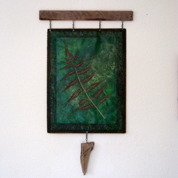 SALE green fern nature mixed media wall hanging by Tremundo