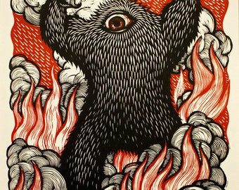 "A Monster Is Born!  2-color 18""x24"" woodcut."