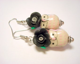 Pink and Black Owl and Rose Handmade Earrings