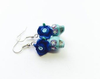 The Blues and Turquoise Day of the Dead Roses and Sugar Skull Earrings