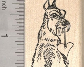 Valentine's Day Schnauzer Rubber Stamp, Dog with Heart E27003 Wood Mounted