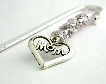 Mom Bookmark with Pink Glass Beads Silver Color Shepherd Hook Steel Bookmark