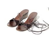 Size 5 ITALIAN Brown Leather Gladiator Sandal