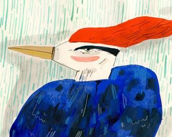 Redhead bird, painting on paper