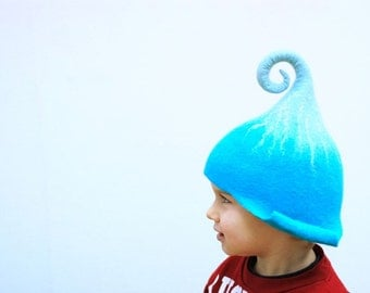 Good mood hats for gnomes/ Handfelted, made of Merino wool blue or ypur custom colorMADE TO ORDER