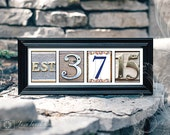 Wedding Date Personalized Frame, Color Photo Numbers, Custom Established Date Print, Engagement or First Anniversary Gift