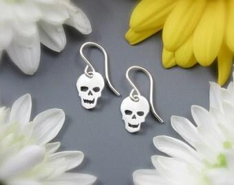 "Tiny Skull Earrings - small sterling silver skull earrings - Argentium sterling silver skull dangle earrings - 3/4"" long"