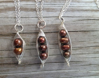 Brown Peas in a Pod Necklace, Sterling Silver Two Peas in a Pod Necklace, Three Peas in a Pod Necklace, Pearl Peas in a Pod Necklace