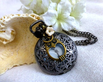 Wise Owl Peek Thru Watch Necklace - Steampunk Owl Locket Pocket Watch Long Necklace