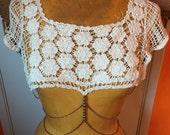 Bohemian Body Jewelry // Gold Body Chain // Crochet Top // 70s 1970s // Coachella Clothing // Unique Unusual // Hippie Gypsy