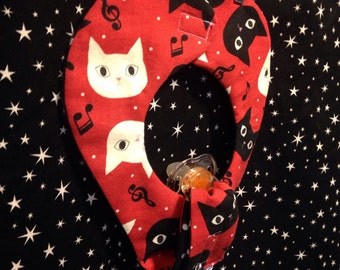 Kitty Cat Pacifier Bib Red and Black