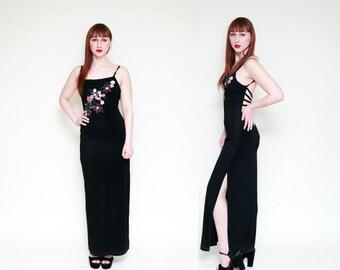 Vintage 90s Black Strappy Floral CAGE Maxi Dress // GRUNGE REVIVAL // - Size M L