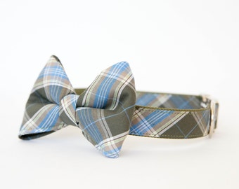 Bowtie Dog Collar - Olive Plaid