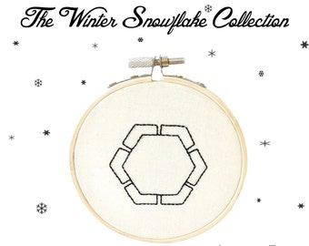 The Winter Snow Flake Collection ~ Fig 49. PDF Instant Digital Download  Snow Crystal Embroidery Pattern ePattern .