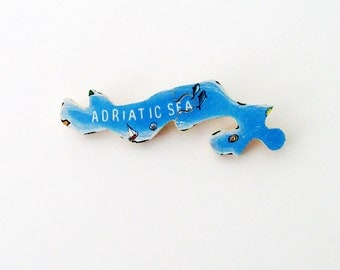 Adriatic Sea Brooch - Lapel Pin / Upcycled 1960s Wood Map Piece / Aqua Blue Wood Brooch / Wearable History Pin / Unique Gift Under 30