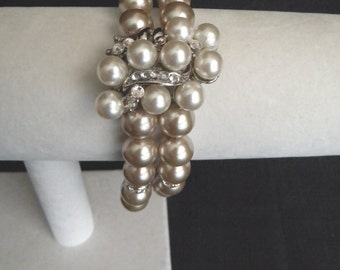 Vintage Bridal Bracelet, Pearl Wedding Jewelry, Brooch Bracelet, Bridal Jewelry, Pearl Wedding bracelet, Great Gatsby, MISHA Bracelet