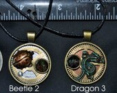 Moon Dragon Lady bug Cat pick the one you love art necklace pendant artist made in Michigan