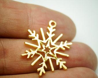2 pcs- Matte Gold Plated SnowFlake charm -25x22mm- (016-050GP)