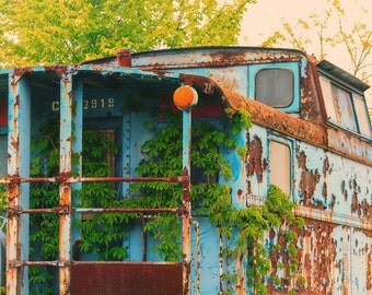 Train Photography, Blue Caboose Print, Train Decor, Railroad Print, Vintage Train Caboose, Fine Art Photo, Blue, Green, Gold Home Decor