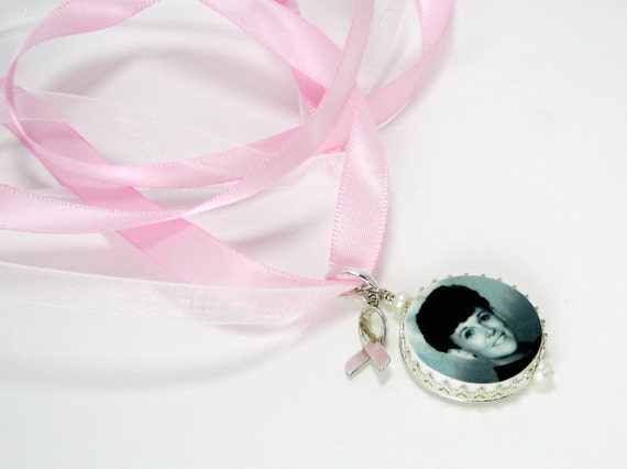 Sterling Cancer Awarenss Ribbon on a Princess Framed Bouquet Charm - Photo Memorial Jewelry - FBC16Pa