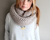 SALE - womens knit mega scarf in CLAY - BIG knits - infinity scarf