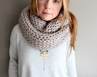 womens knit mega scarf in CLAY - BIG knits - infinity scarf