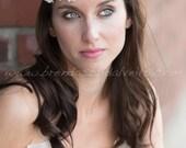 Bridal Flower Headband, Pearl Bohemian Halo, Rhinestone Bohemian Head Piece, Flower Crown, Wedding Hair Piece - Tania