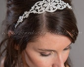 Art Deco Rhinestone Bridal Headband, Crystal Headpiece, Wedding Headband - Janice