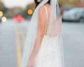 3 Piece Bridal Veil Set, Tulle Head Wrap, Tulle Tails w Silk Flower Headpiece, Wedding Veil, Bohemian Headband, Available in Custom Colors