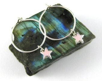 Star Earrings - Star Hoop Earrings - Silver Hoops - Hoop Earrings - Silver Hoop Earrings - Silver Star Earrings