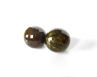 Green Garnet Gemstone Pearl Post Earrings, Ready to Ship, gemstone earrings with 14k yellow Gold, Birthstone earrings