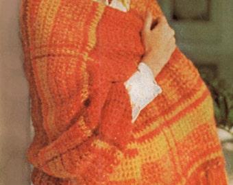Shawl Crochet Pattern, Plaid Crochet Shawl Pattern,  Bulky or Mohair Crochet Wrap Pattern, INSTANT Download Pattern PDF (1607)