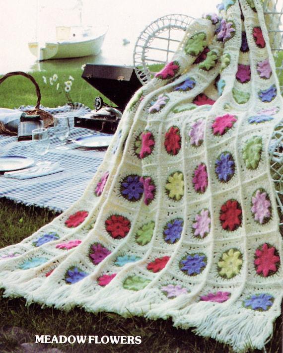 Afghan Crochet Pattern, Flower Afghan Crochet Pattern ...