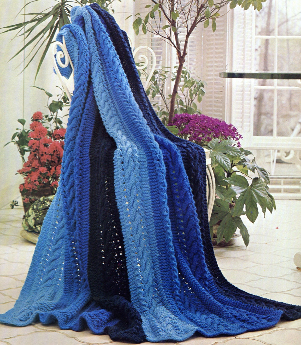 Striped Cable Knit Afghan Knitting Pattern Simple Knitting