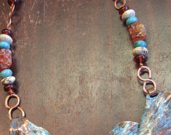 Hand forged copper and carnelian