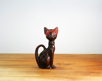 vintage 50s Brown & Red Swirl Long Neck Cat Redware Pottery Kitty Figurines