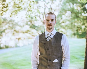 Steampunk Mens Vest Waistcoat - Asymmetrical Grey Wool Blend - Wild West Groom- Custom to Order