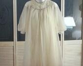 Vintage KAYSER 50s Double Chiffon Sissy Nightgown Night Gown Robe Peignoir Set