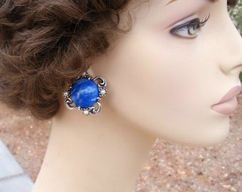 Vintage Blue Sky Cabochon Earrings with Faux Pearls Antiqued Silvertone Setting