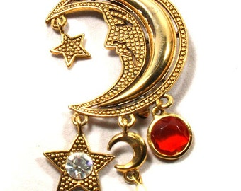 Juliana Moon & Stars Brooch Pin DeLizza and Elster Jewelry 1970s Book Piece