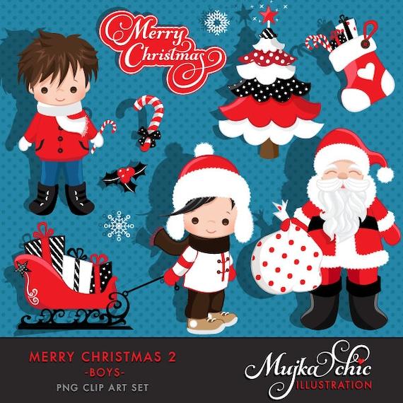 Christmas Clipart Santa Graphics Cute Elements Polka