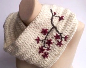 Women's Cowl with Cherry Blossom Embroidery Infinity Scarf Cherry Blossom Scarf Embroidered Scarf Womens Warm Winter Scarf - MADE TO ORDER