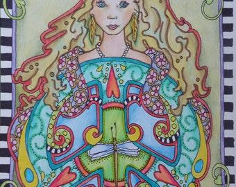 Peace isnt a Fairytale, Singleton Hippie Art, Original drawing, fairytale art, hippie chic art, peace sign art, flower power art, peace love