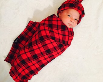 Buffalo Plaid Baby Blanket // black and red //  Christmas Baby  // Hipster Baby // Plaid Swaddle // MJC0920
